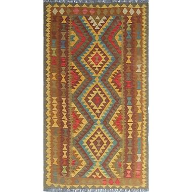 Loon Peak Vallejo Kilim Piraye Hand-Woven Wool Gold Area Rug