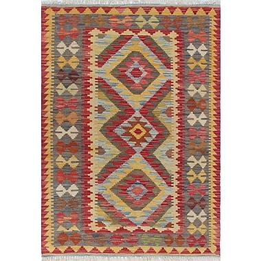Loon Peak Vallejo Kilim Sevtap Hand-Woven Wool Red Area Rug
