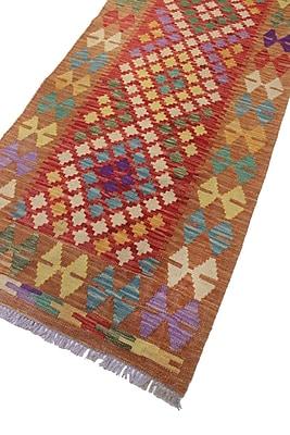 Loon Peak Vallejo Kilim Batcha Hand-Woven Wool Red Area Rug