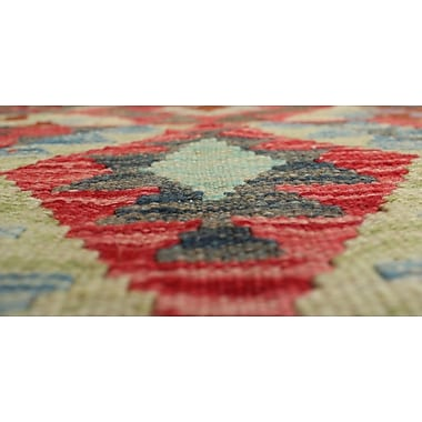 Loon Peak Vallejo Kilim Farooz Hand-Woven Wool Red Area Rug