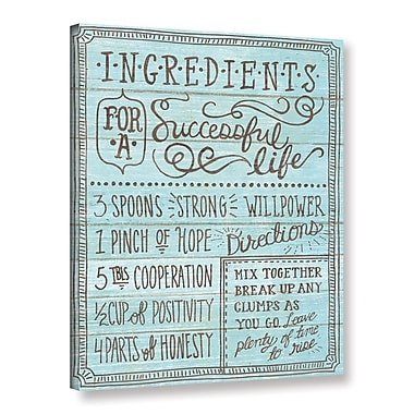 Latitude Run 'Ingredients for Life I' Contemporary Textual Art on Wrapped Canvas