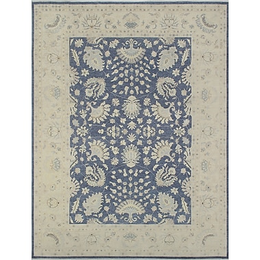 Darby Home Co Bridgette Alam Hand-Knotted Wool Blue/Grey Area Rug