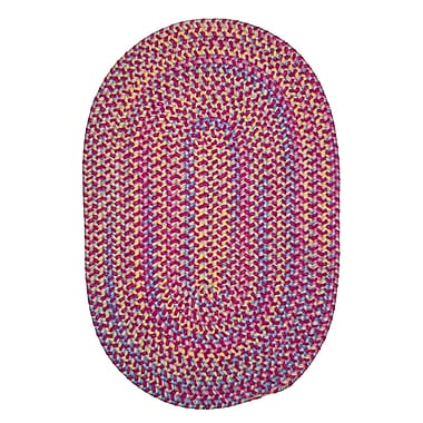 Harriet Bee Oliver Hand-Woven Pink Area Rug; Oval 2' x 12'
