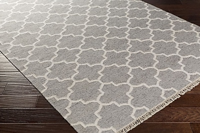 Darby Home Co Palladio Hand-Woven Gray/White Area Rug; 5' x 7'6''