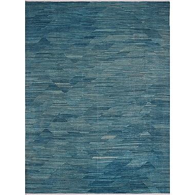 Bungalow Rose Ackworth Hussaini Hand-Woven Wool Blue Area Rug