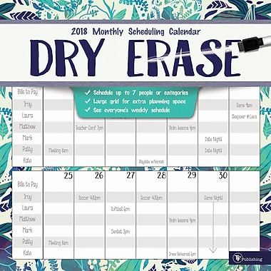 Tf Publishing 2018 Dry Erase Wall Calendar 12