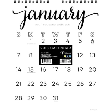 Tf Publishing 2018 Black & White Script Monthly Wall Calendar 8.5