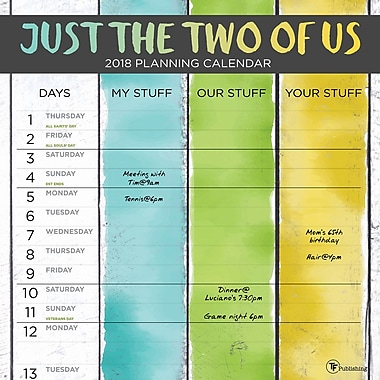Tf Publishing 2018 Just The Two Of Us Wall Calendar 12