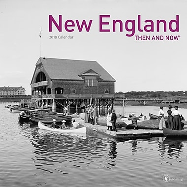 TF Publishing – Calendrier mural 2018, « New England Then And Now », 12 x 12 po