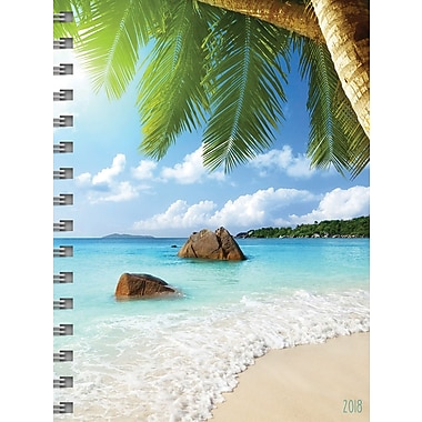 TF Publishing - Agenda mensuel/hebdomadaire 2018, format moyen, Plages tropicales, 6,5 x 8 po