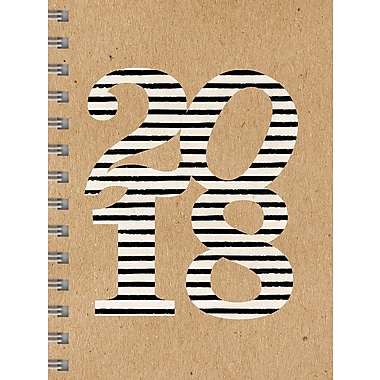 Tf Publishing 2018 Striped Kraft Medium Weekly Monthly Planner 6.5