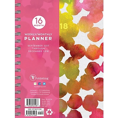 Tf Publishing 2018 Painted Dots Medium Weekly Monthly Planner 6.5