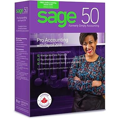 Sage – Logiciel Sage 50 Comptabilité Pro avec système de paye 2018, bilingue, abonnement de 1 an