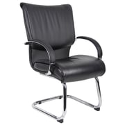 Orren Ellis Chairez Leather Guest Chair; Black