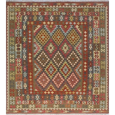 Loon Peak Vallejo Kilim Anita Hand-Woven Wool Green Area Rug