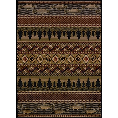 Loon Peak Sayre River Ridge Lodge Brown Area Rug; Runner 1'11'' x 7'2''