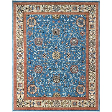 Loon Peak Woodmoor Nasir Hand-Knotted Wool Blue Area Rug