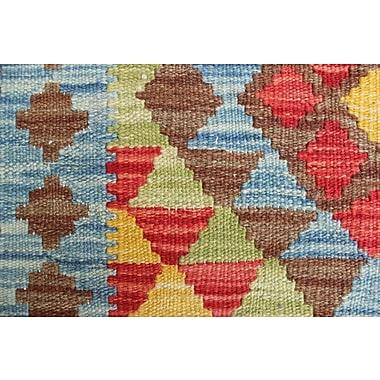 Loon Peak Vallejo Kilim Marghalai Hand-Woven Wool Blue Area Rug