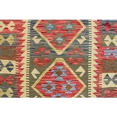 Loon Peak Vallejo Kilim Sunay Hand-Woven Wool Green Area Rug