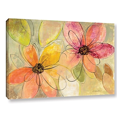 Ebern Designs 'Neon Floral' Painting Print on Wrapped Canvas; 12'' H x 18'' W x 2'' D