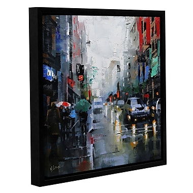 Ebern Designs 'St. Catherine Street Rain' Framed Painting Print on Canvas; 18'' H x 18'' W x 2'' D