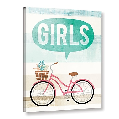 Ebern Designs 'Beach Cruiser Girls II' Graphic Art Print on Canvas; 32'' H x 24'' W x 2'' D