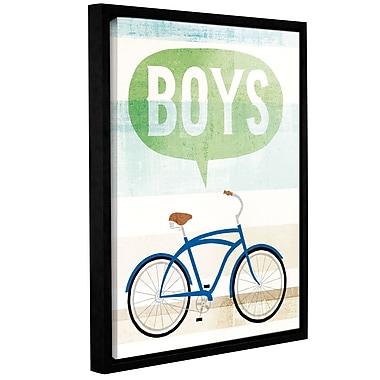 Ebern Designs 'Beach Cruiser Boys II' Framed Graphic Art Print on Canvas; 10'' H x 8'' W x 2'' D