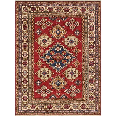 Bloomsbury Market Chanell Malikzay Hand-Knotted Wool Red Area Rug