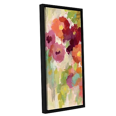 Ebern Designs 'Coral and Emerald Garden I Panel I' Framed Painting Print; 24'' H x 8'' W x 2'' D