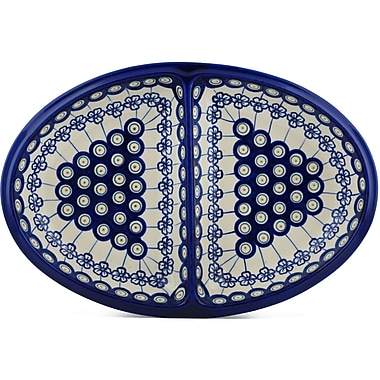 Polmedia Polish Pottery Flowering Peacock Divided Serving Dish