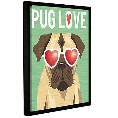 Latitude Run 'Beach Bums Pug I Love' Framed Graphic Art Print on Canvas; 10'' H x 8'' W x 2'' D