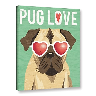 Latitude Run 'Beach Bums Pug I Love' Graphic Art Print on Canvas; 24'' H x 18'' W x 2'' D