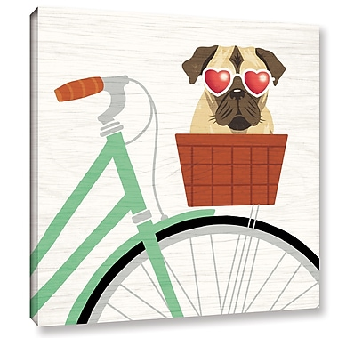 Latitude Run 'Beach Bums Pug Bicycle I' Graphic Art Print on Canvas; 10'' H x 10'' W x 2'' D