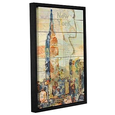 Latitude Run 'Manhattan Skyline' Framed Graphic Art Print on Canvas; 24'' H x 16'' W x 2'' D