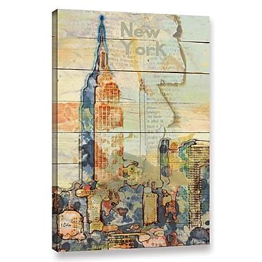 Latitude Run 'Manhattan Skyline' Graphic Art Print on Wrapped Canvas; 24'' H x 16'' W x 2'' D