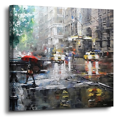 Latitude Run 'Manhattan Red Umbrella' Painting Print on Canvas; 24'' H x 24'' W x 2'' D