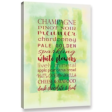 Ebern Designs 'Champagne Wine' Textual Art on Wrapped Canvas; 18'' H x 12'' W x 2'' D