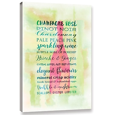 Ebern Designs 'Champagne Rose' Textual Art on Wrapped Canvas; 18'' H x 12'' W x 2'' D
