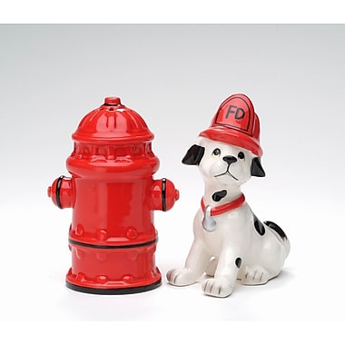 CosmosGifts Firefighter Dog w/ Fire Post 2-Piece Salt and Pepper Set