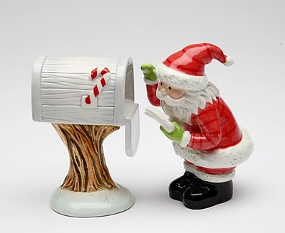 CosmosGifts Santa Checking for Mail 2-Piece Salt and Pepper Set