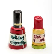 CosmosGifts Nail Polish and Lipstick Holiday Sparkle 2-Piece Salt and Pepper Set