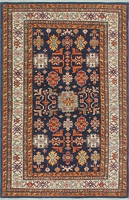 Bloomsbury Market Chanell Naqeba Hand-Knotted Wool Blue Area Rug