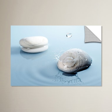 East Urban Home 'Zen Rain 4' Graphic Art; 16'' H x 24'' W x 0.1'' D
