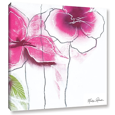 Latitude Run 'Pink Floral' Painting Print on Wrapped Canvas; 14'' H x 18'' W x 2'' D