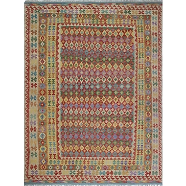 Loon Peak Vallejo Kilim Feroza Hand-Woven Wool Red Area Rug