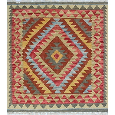 Loon Peak Vallejo Kilim Jooma Hand-Woven Wool Rust Area Rug