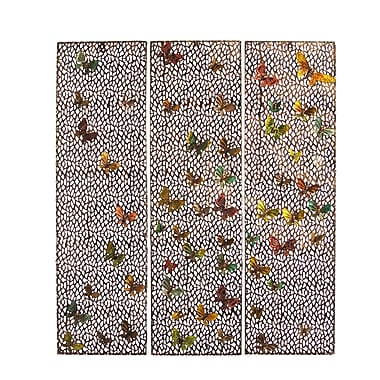 Bloomsbury Market 3 Piece Flying Butterflies Metal Panel Wall Decor Set