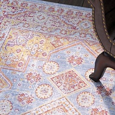 Bungalow Rose Kahina Vintage Distressed Oriental Pink/Blue Area Rug; 7'10'' x 10'6''