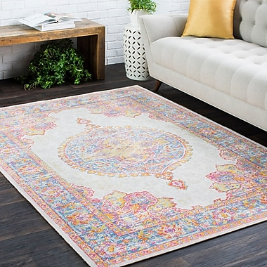 Bungalow Rose Kahina Traditional Vintage Distressed Oriental Pink Area Rug; 3'11'' x 5'11''