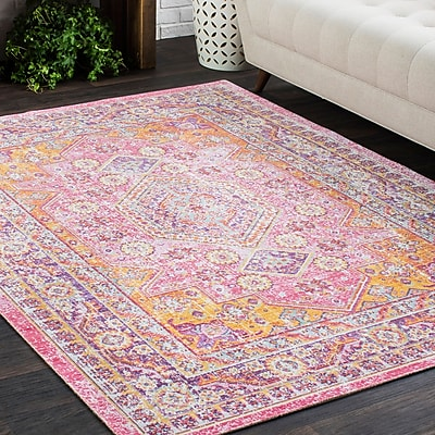 Bungalow Rose Kahina Vintage Distressed Oriental Orange/Pink Area Rug; 3'11'' x 5'11''